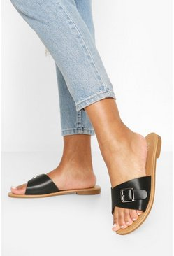 Black Wide Fit Buckle Detail Sliders