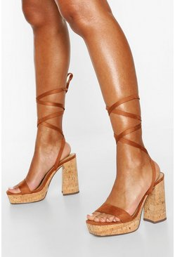 Tan brown Wrap Strap Platform Heels