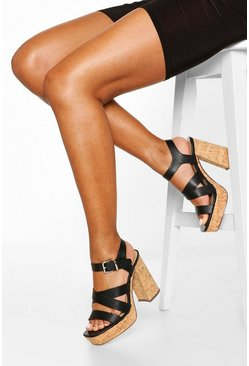 Black Multi Strap Block Heel Platforms