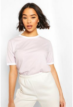 Lilac Cotton Ringer T-Shirt
