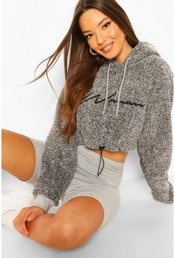 Charcoal Woman Embroidered Fleece Crop Hoodie