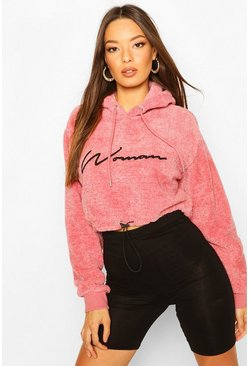 Pink Woman Embroidered Fleece Crop Hoodie