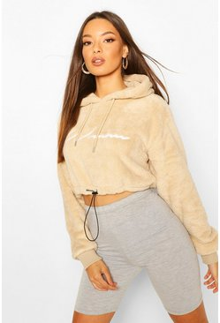 Sand Woman Embroidered Fleece Crop Hoodie