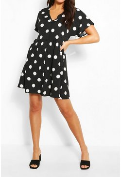 Black Large Scale Spot Button Through Smock Dress