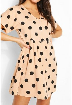 Stone beige Large Scale Spot Button Through Smock Dress