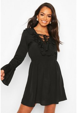 Black Lace Up Detail Skater Dress