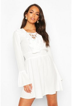 White Lace Up Detail Skater Dress