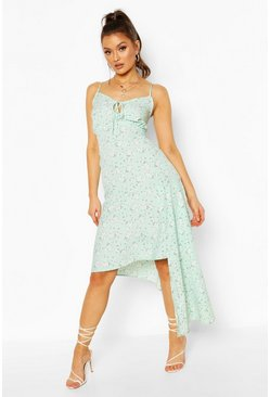 Mint green Woven Floral Tie Front Asymetric Midi Dress