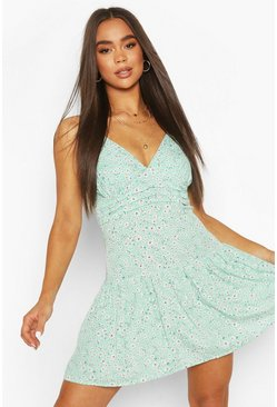 Mint green Woven Daisy Peplum Hem Mini Dress