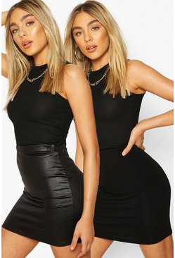 Black 2 Pack Wet Look and Jersey Mini Skirt