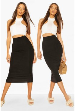 Black 2 Pack Basic Jersey Midaxi Skirt