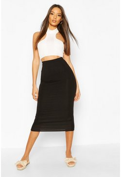 Black Basic Jersey Midaxi Skirt
