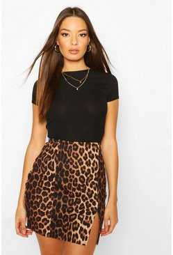 Leopard Print Side Split Mini Skirt