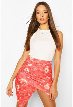 Red Oriental Floral Wrap Front Mini Skirt