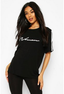 Black Side Stripe Woman T-Shirt