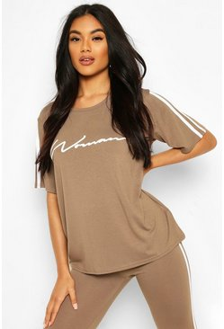 Mocha beige Side Stripe Woman T-Shirt