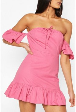 Rose pink pink Tie Detail Bardot Frill Denim Dress
