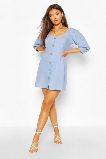 Blue Mock Horn Button Denim Denim Shift Dress