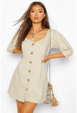 Stone beige Mock Horn Button Denim Denim Shift Dress