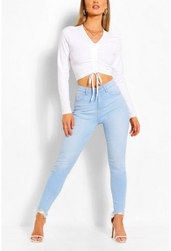 Bleach wash High Waist Frayed Hem Stretch Skinny Jeans