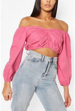 Rose pink Gathered Front Balloon Sleeve Denim Crop Top