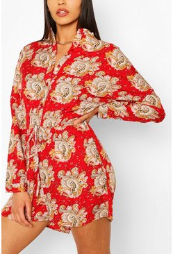 Red Bohemian Paisley Print Playsuit