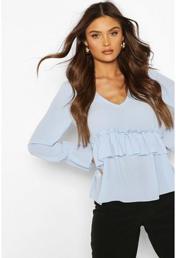 Baby blue blue Woven Ruffle Retail Smock Top