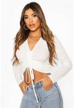 Ivory white Rib Ruched Front Long Sleeve Top