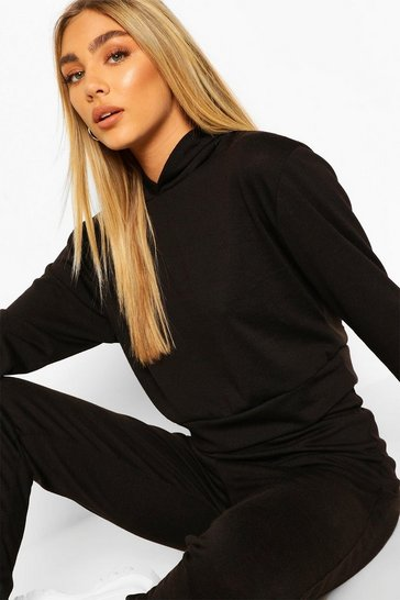 Black Melange Knitted Hoody & Jogger Co-Ord Set