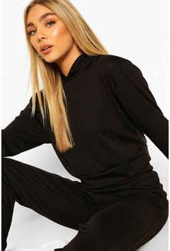 Black Melange Knitted Hoody And Jogger Co-ord Set