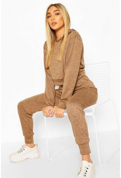 Camel Melange Knitted Hoody & Jogger Two-Piece Set