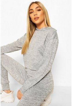 Grey Melange Knitted Hoody & Jogger Two-Piece Set