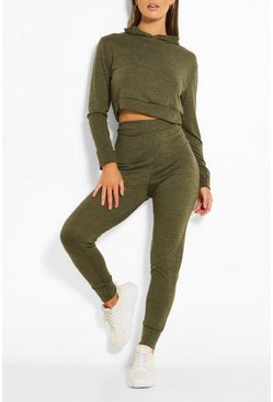 Khaki Melange Knitted Hoody And Jogger Two-Piece Set