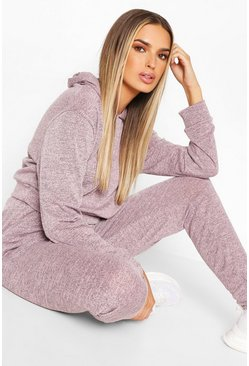 Pink Melange Knitted Hoody & Jogger Co-ord Set