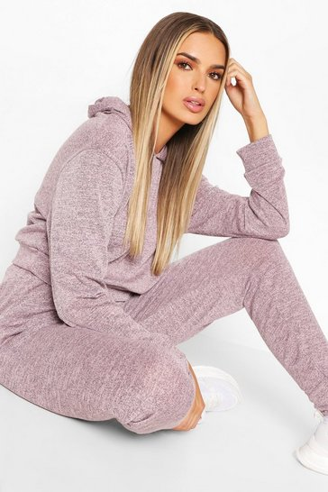 Pink Melange Knitted Hoody And Jogger Co-Ord Set