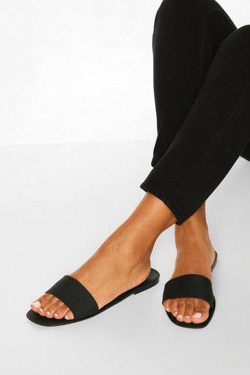Black Jelly Square Toe Sliders