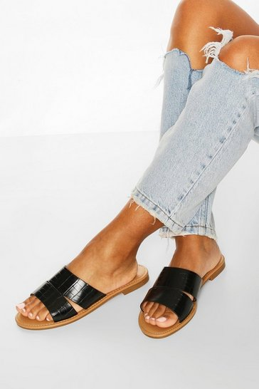 Black Croc Peeptoe Sliders
