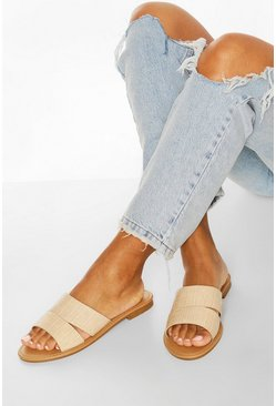 Cream white Croc Peeptoe Siders