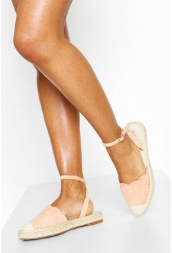 Blush Scallop Edge Pointed Espadrilles