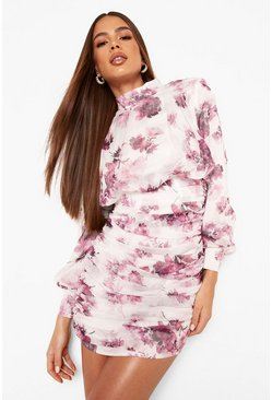White High Neck Floral Ruched Mini Dress