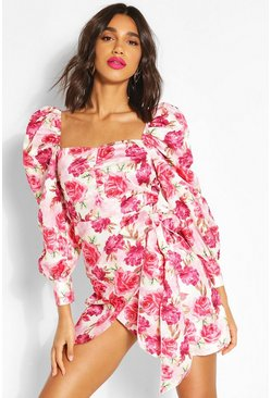 Pink Floral Puff Sleeve Drape Wrap Dress