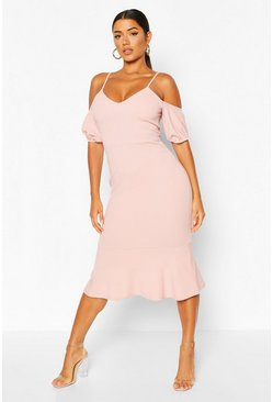 Blush pink Cold Shoulder Puff Sleeve Peplum Hem Midi Dress