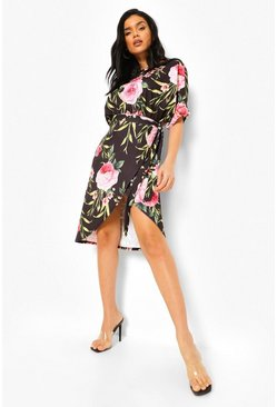 Black Floral Wrap Tie Waist Midi Dress