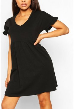 Black V Neck Frill Sleeve Smock Dress