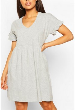 Grey marl grey V Neck Frill Sleeve Smock Dress