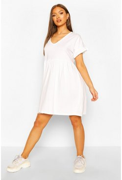 White V Neck Frill Sleeve Smock Dress