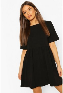 Black Oversized Seam Detail T-Shirt Dress