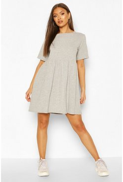 Grey marl grey Oversized Seam Detail T-Shirt Dress