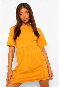 Mosterd yellow Oversized L'Amour T-Shirtjurk Met Naaddetail