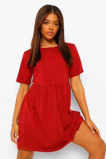 Rust orange Oversized Seam Detail T-Shirt Dress